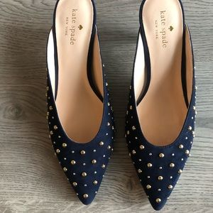 Kate Spade Surie Navy Studded Mules